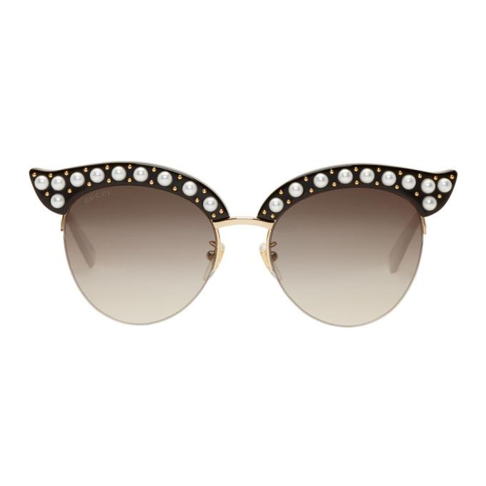 34690fbccd1 Gucci Black Pearl Cat-Eye Sunglasses