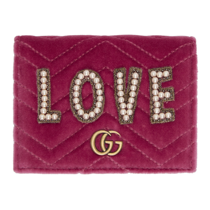 GG MARMONT EMBROIDERED VELVET WALLET