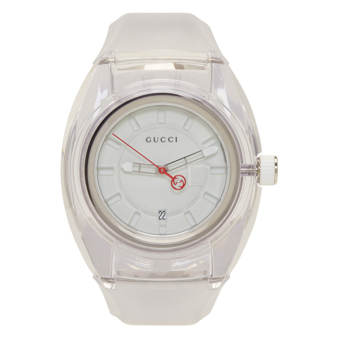 Sync Transparent Rubber Strap Watch, 46Mm, White