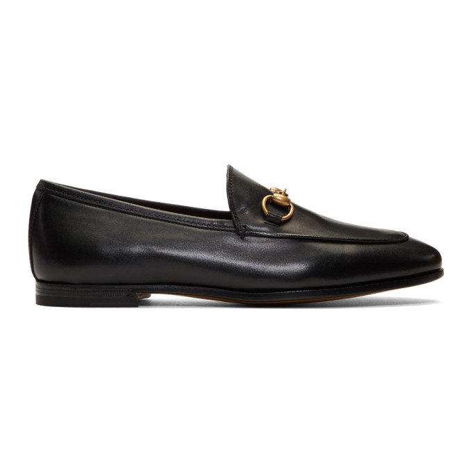 Gucci Slip On Shoes Brixton  Smooth Leather Horsebit-Detail Black In 1000 Black