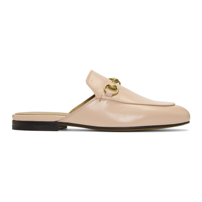 GUCCI PRINCETOWN LEATHER BACKLESS LOAFERS, PINK | ModeSens