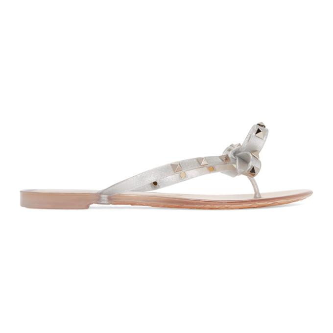 f0237f9f8 Valentino Silver Garavani Rockstud Jelly Bow Sandals