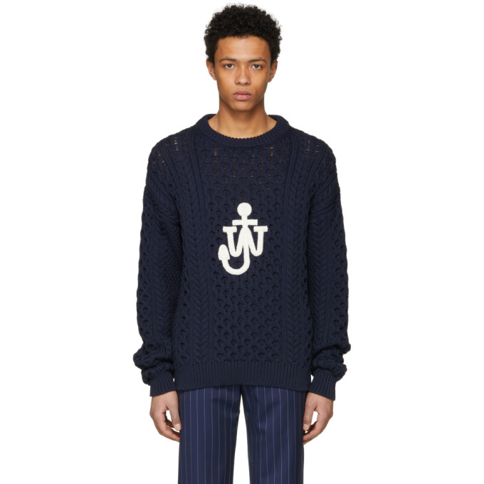 Navy Cable Knit Logo Sweater by Jw Anderson