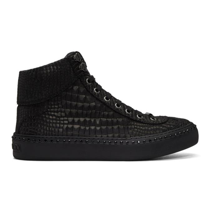 5890726b555 Jimmy Choo Black Croc Crystal Argyle High-Top Sneakers