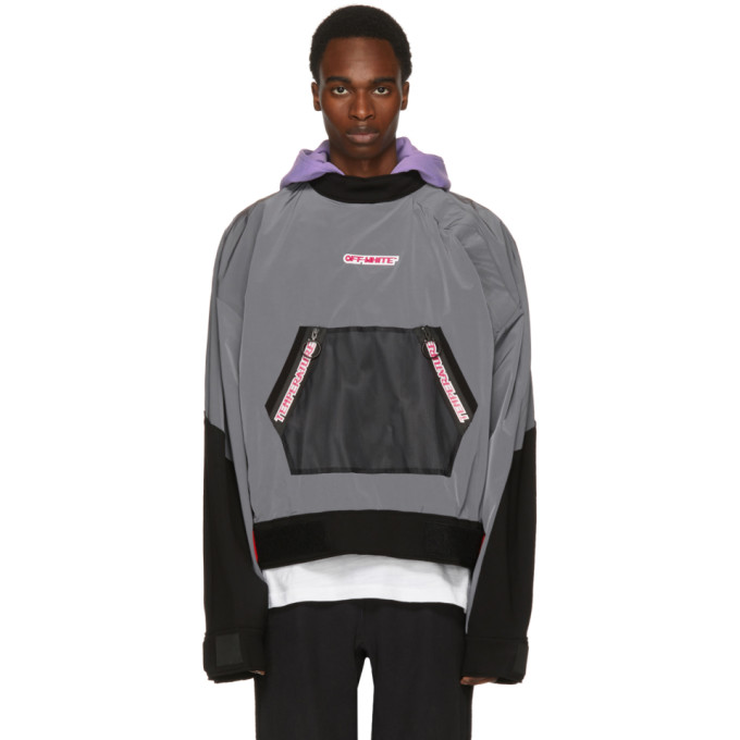 Off-white Mesh-trimmed Cotton-blend Shell Jacket In Light Grey
