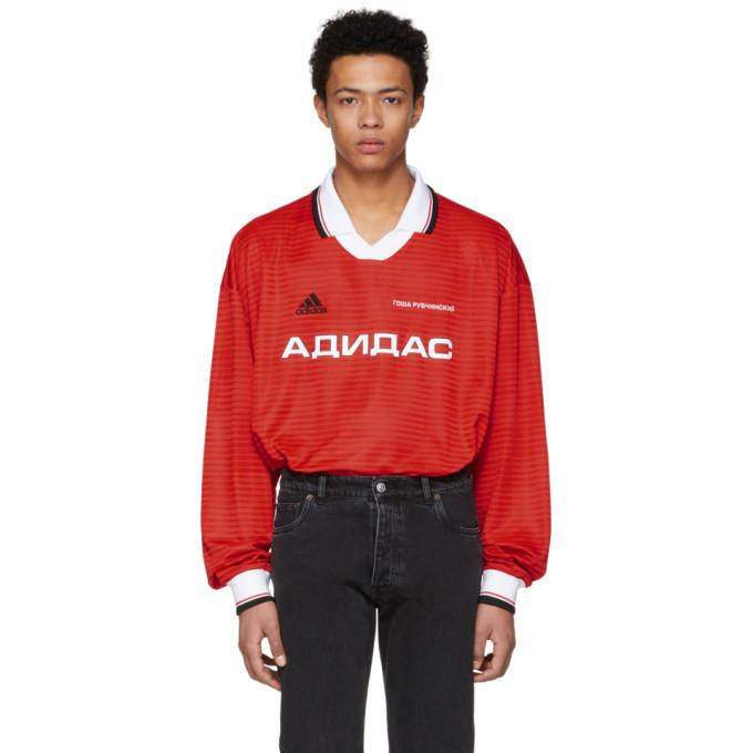 Gosha Rubchinskiy  Red Long Sleeve adidas Originals Edition Polo