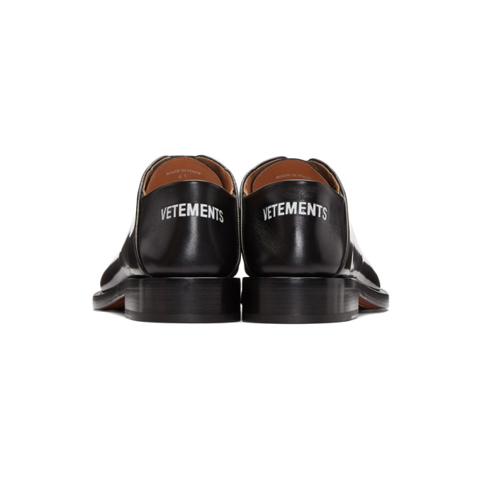 Logo-embossed Full-grain Leather Slides - BlackVETEMENTS