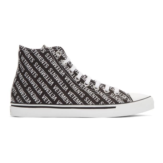 Printed Canvas High-top Sneakers - BlackVETEMENTS