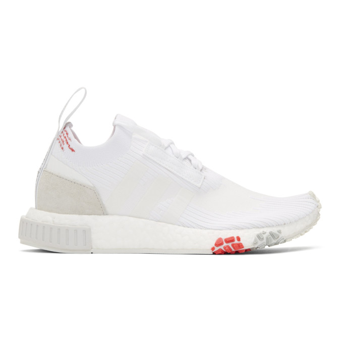 ADIDAS ORIGINALS WHITE AND RED NMD RACER PK SNEAKERS