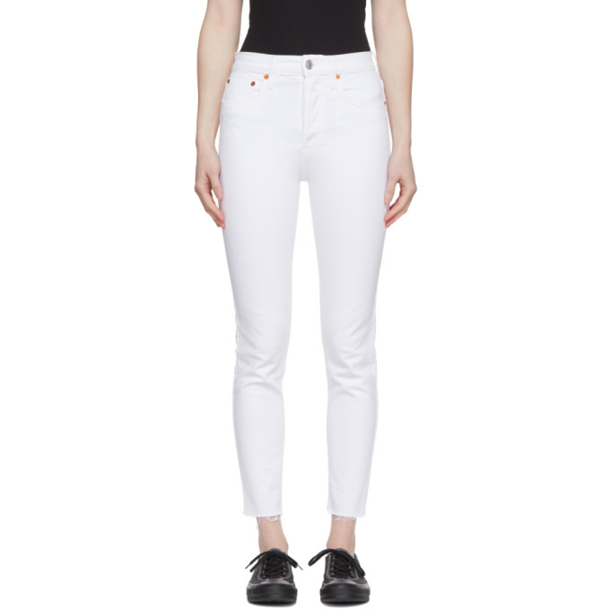 High Rise Ankle Crop Jeans - White Size 27