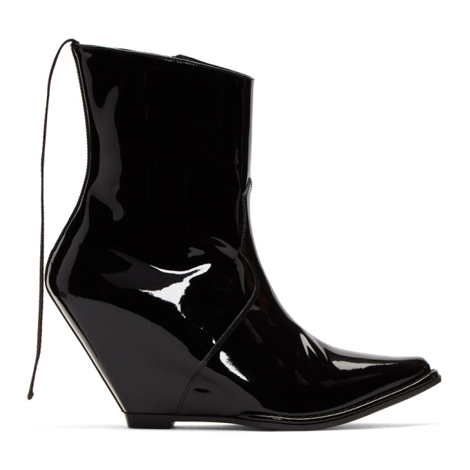 Pointed Toe Ankle Wedges in Black