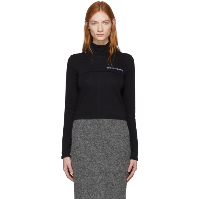 Ssense Exclusive Black Lapped Baby Turtleneck by Eckhaus Latta