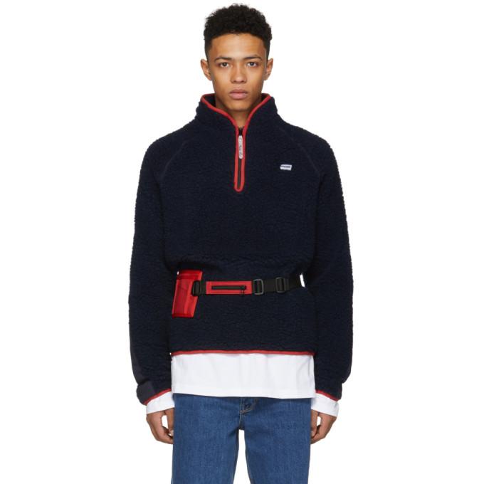 Navy Fleece Track Sweater by Martine Rose