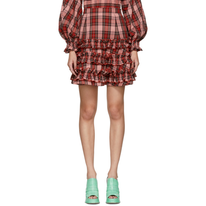 MOLLY GODDARD Em Tartan Print Cotton Skirt in Multicolour