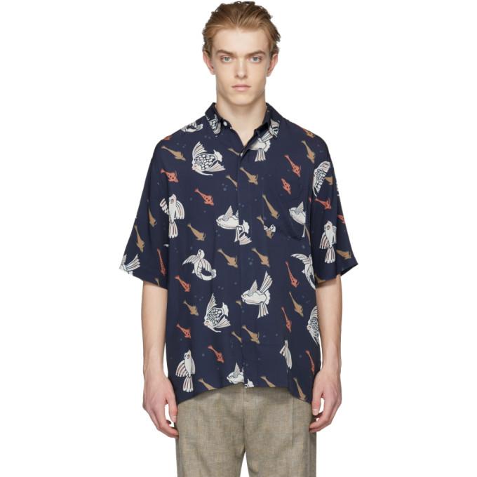 Navy Ocean Print Shirt by Hope