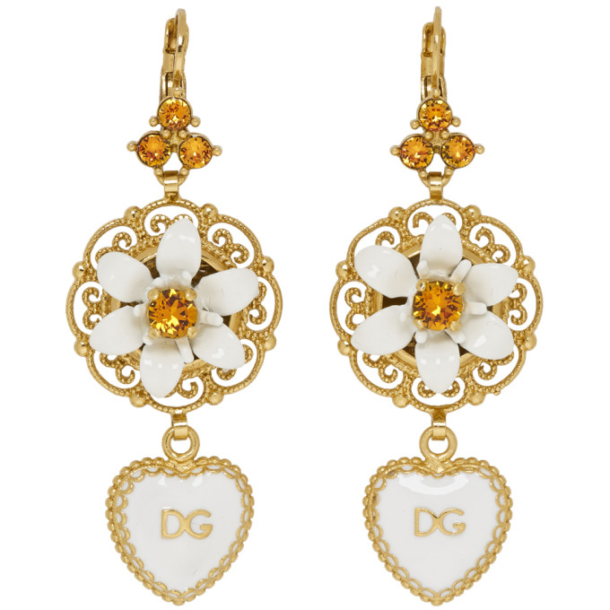 DOLCE AND GABBANA GOLD AND WHITE HEART FLOWER EARRINGS