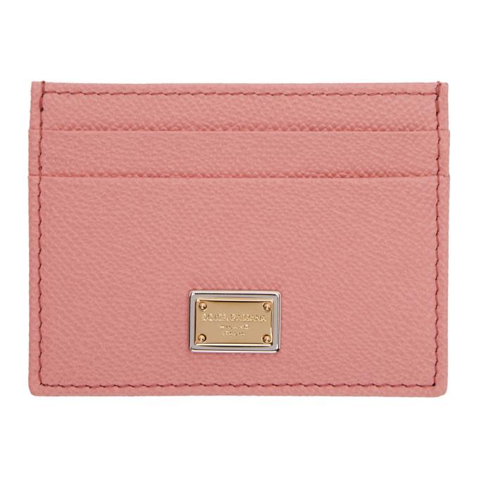 Pink Logo Plate Card Holder Dolce & Gabbana
