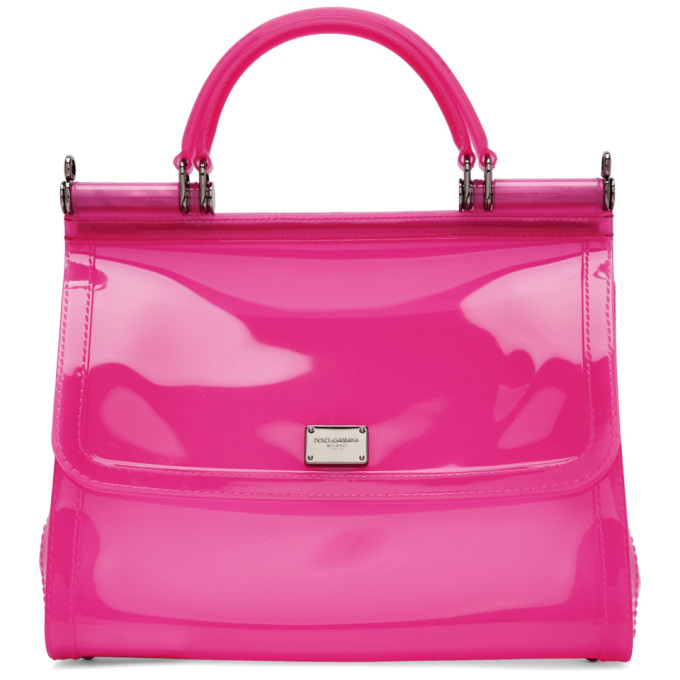 DOLCE AND GABBANA PINK SMALL RUBBER MISS SICILY BAG