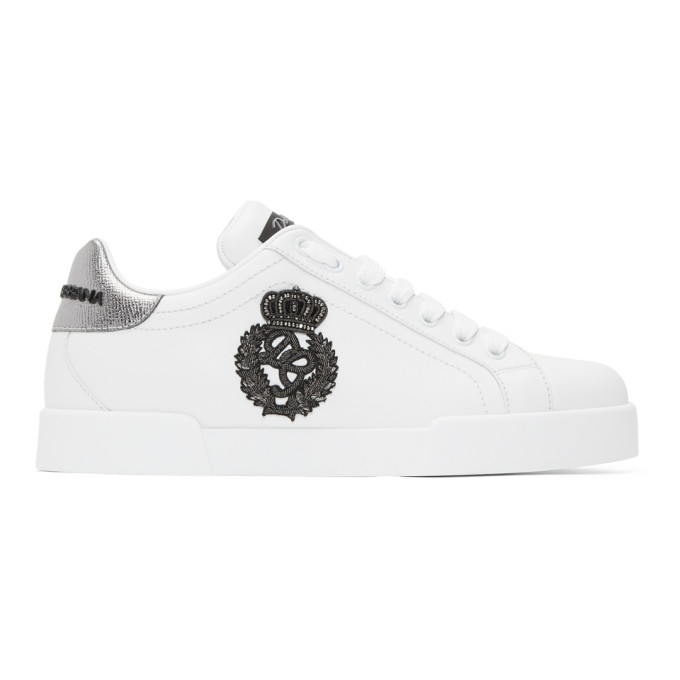 DOLCE AND GABBANA WHITE CREST SNEAKERS
