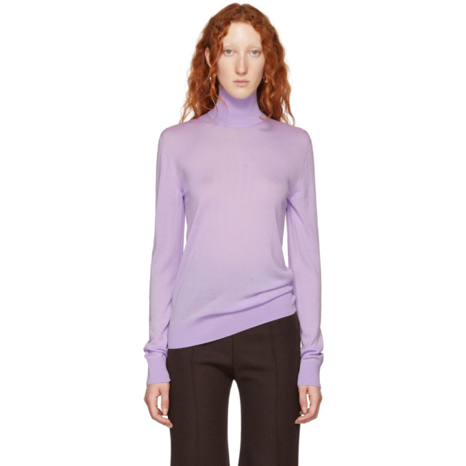 KWAIDAN EDITIONS PURPLE MERINO TURTLENECK PULLOVER