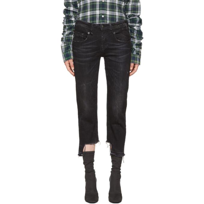 R13 Black Boy Straight Uneven Hem Jeans