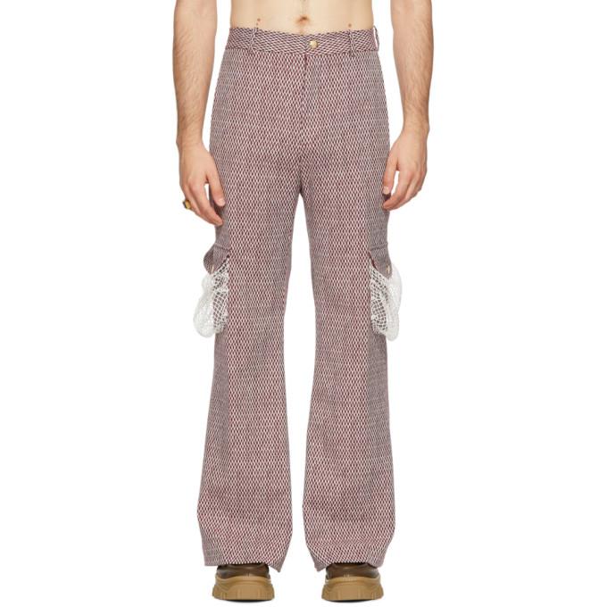 PALOMO SPAIN Palomo Spain Burgundy Net Trousers in Burgundy/Wh
