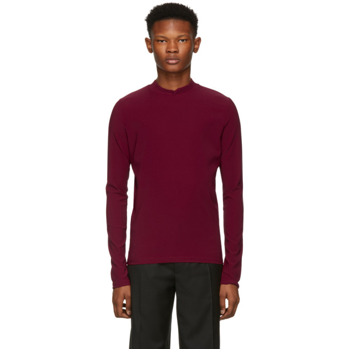 NAMACHEKO RED DOUBLE FACED MOCK NECK SWEATER