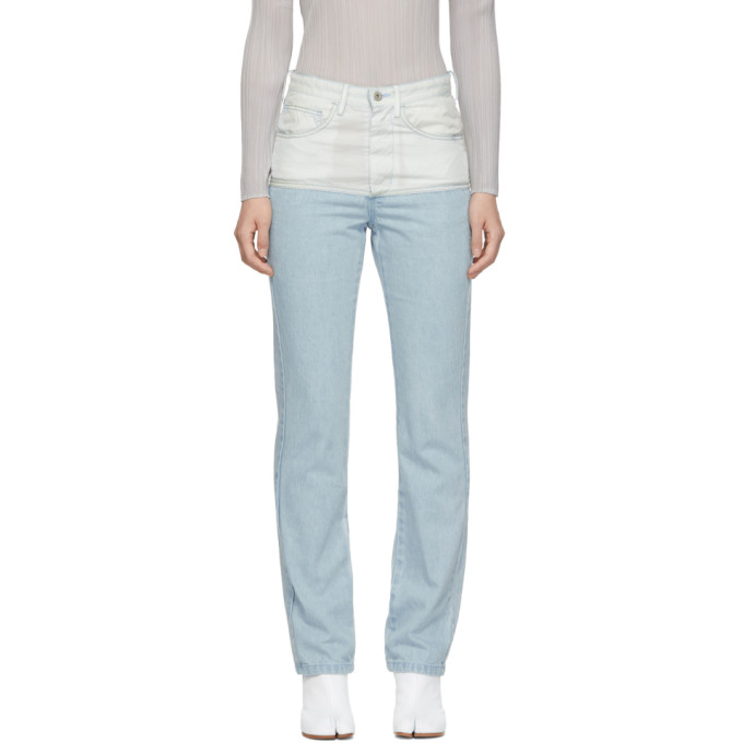 KANGHYUK Kanghyuk Blue And Off-White Airbag Jeans in Skybl/Ofwht