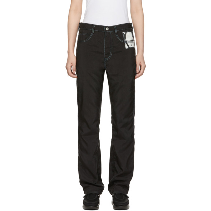 KANGHYUK Kanghyuk Black Airbag Straight Jeans in Black/Skybl