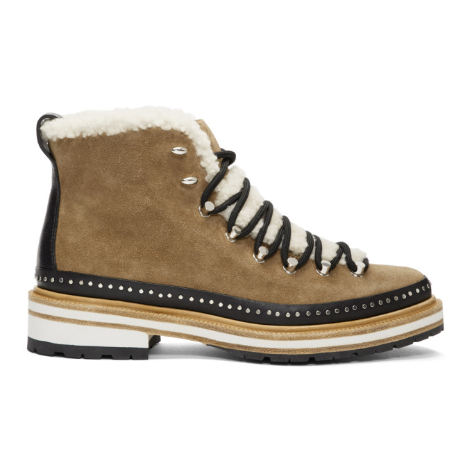 RAG AND BONE BROWN SUEDE AND SHEARLING COMPASS BOOTS