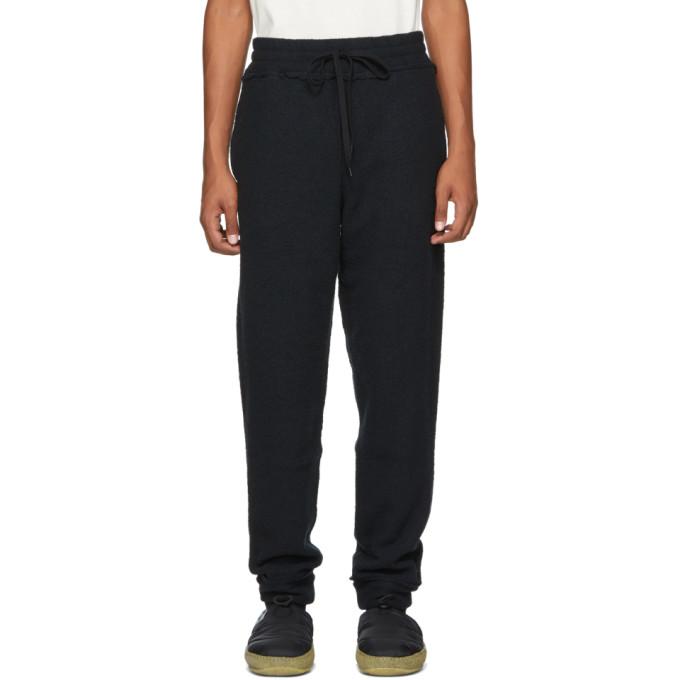 KOZABURO Kozaburo Black Raw Flat Seamer Lounge Pants in Charcoal