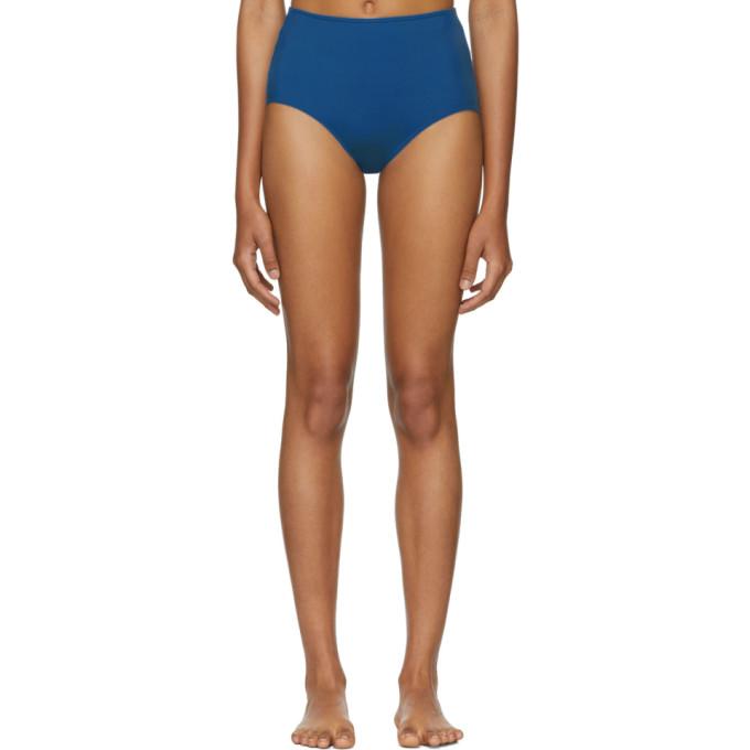 HER LINE Her Line Blue Classic High-Waist Bikini Briefs in True Blue