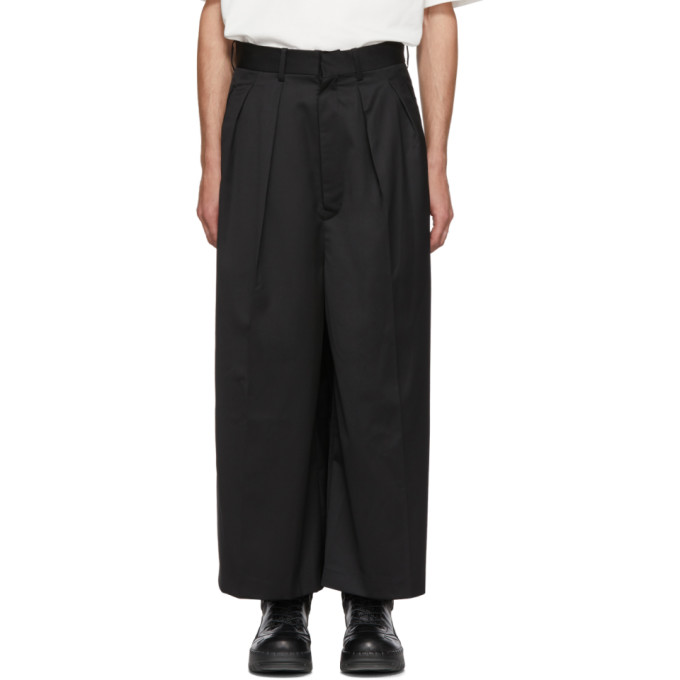 ALMOSTBLACK BLACK WIDE LEG TROUSERS
