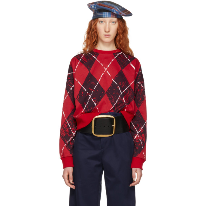 CHARLES JEFFREY LOVERBOY RED AND BLACK CLAES ARGYLE CREWNECK SWEATER