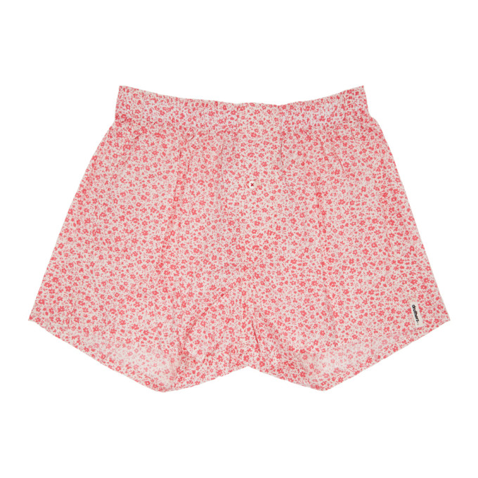DRUTHERS Druthers Pink And White Micro Floral Boxers