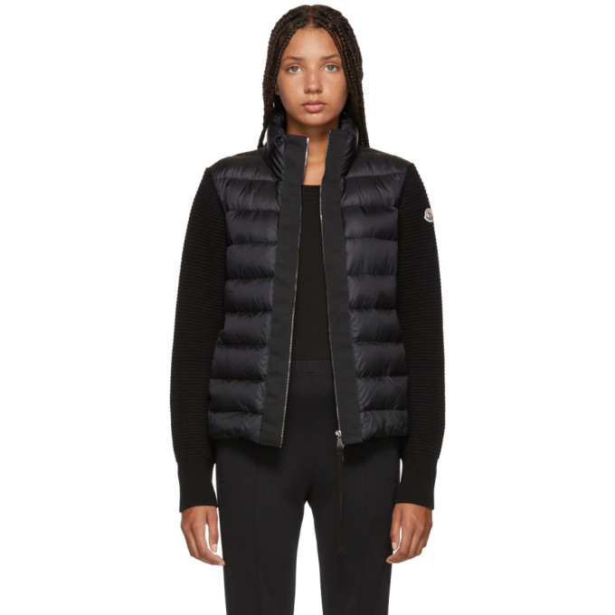 Black Knit & Down Jacket by Moncler