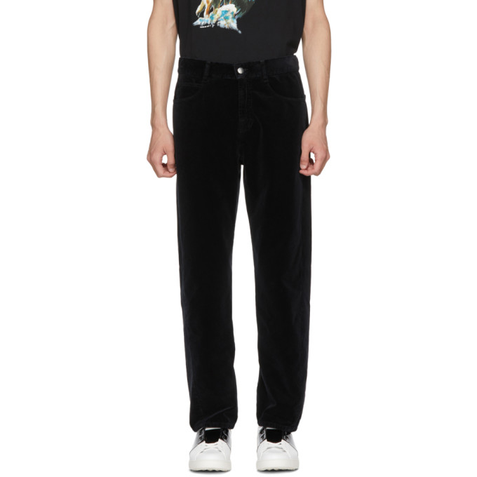 Black Velvet Twisted Trousers by Mcq Alexander Mcqueen