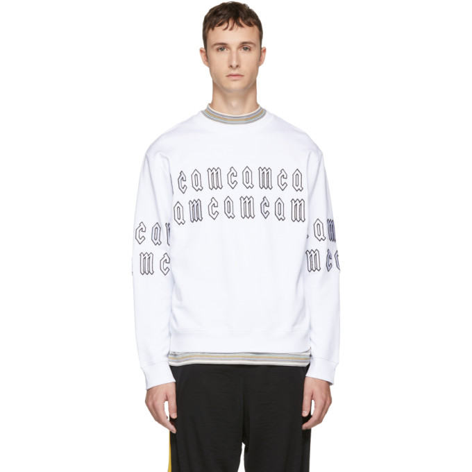 MCQ BY ALEXANDER MCQUEEN White Gothic Repeat Logo Clean Sweatshirt