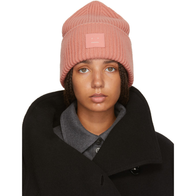 'Pansy L Face' Emoticon Patch Wool Blend Beanie in Pale Pink