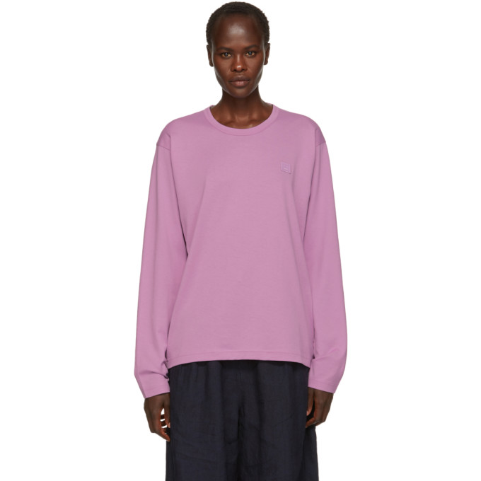 Purple Long Sleeve Nash Face T Shirt by Acne Studios