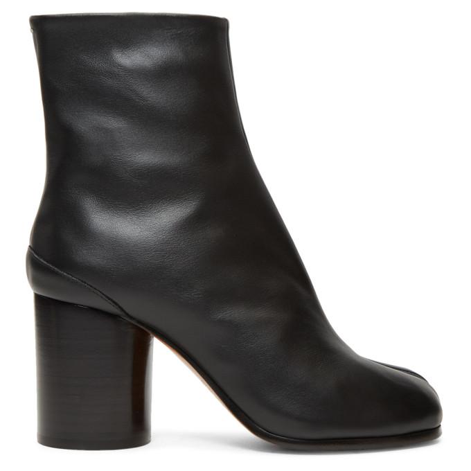 Black Leather Tabi Boots by Maison Margiela