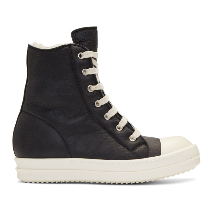 RICK OWENS BLACK SHEARLING HIGH-TOP SNEAKERS