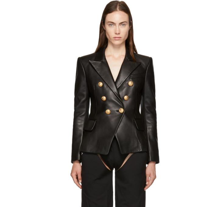 BALMAIN Black Six-Button Leather Blazer