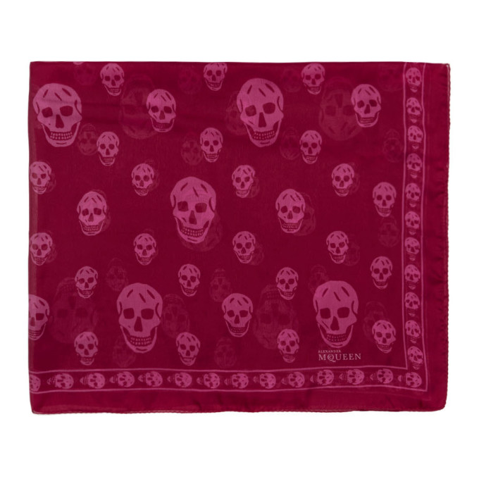 Burgundy & Pink Silk Skull Scarf by Alexander Mcqueen