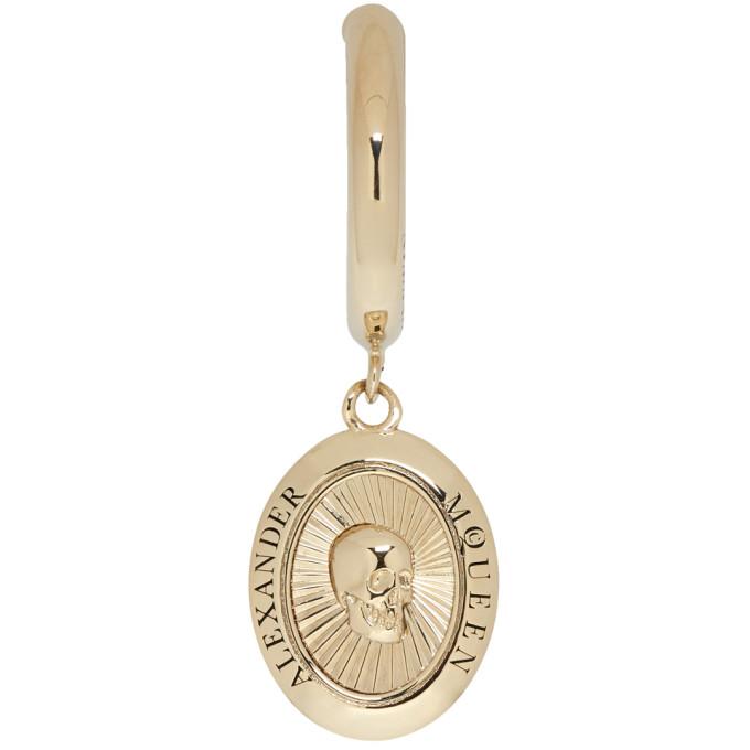 ALEXANDER MCQUEEN Gold Single Skull Medallion Earring