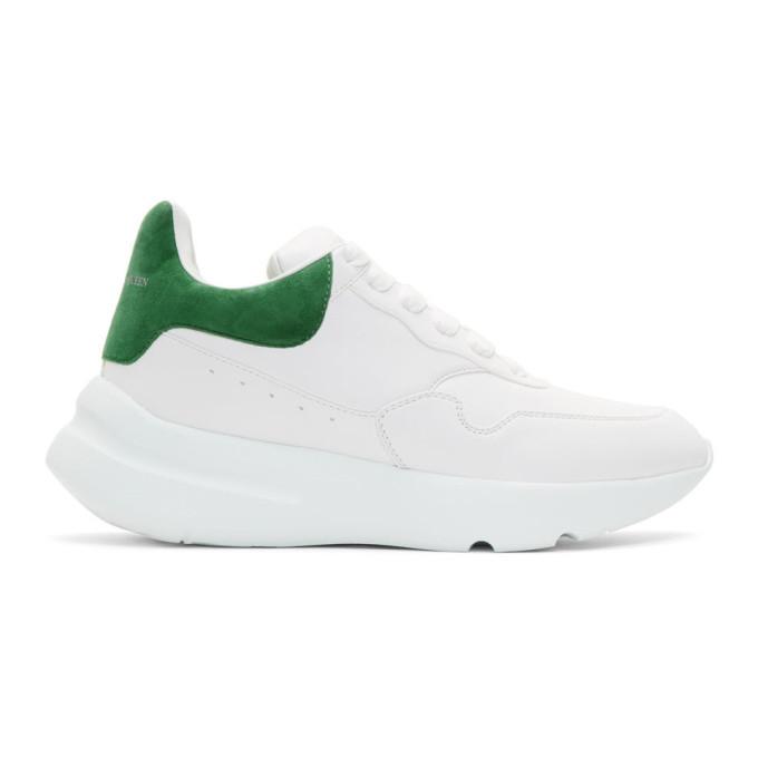 White & Green Runner Sneakers by Alexander Mcqueen