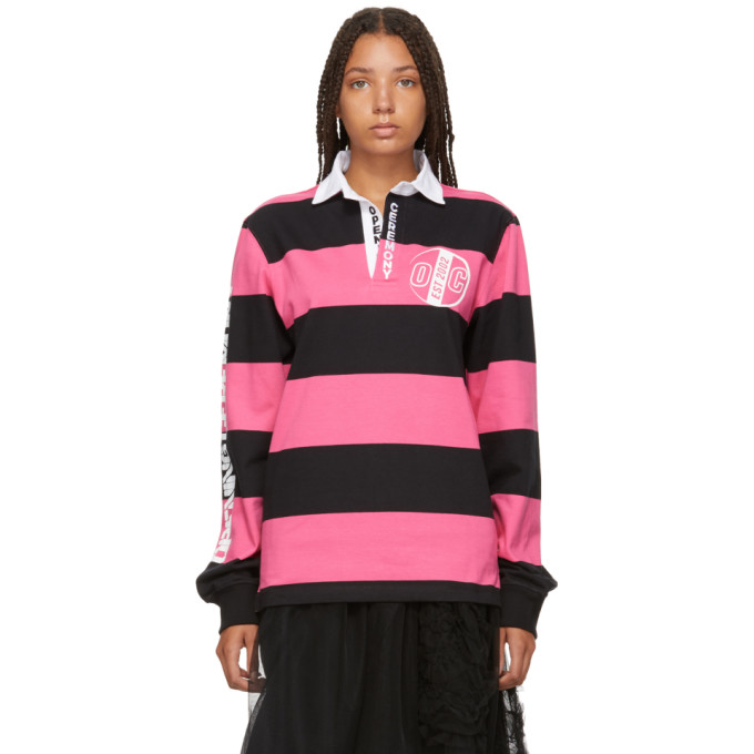 Stripe Rugby Top, Neon Pink Multi