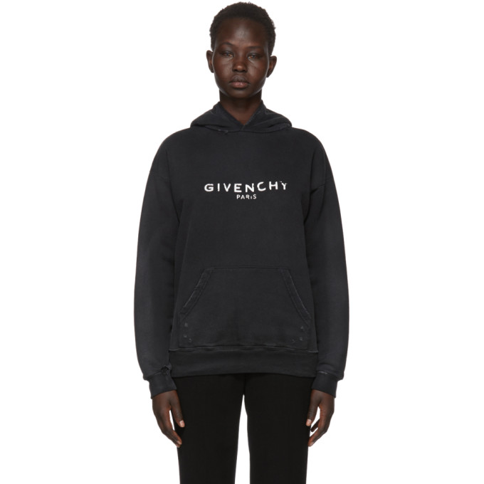 ff6d97d0523d Givenchy Distressed Printed Cotton-Jersey Hoodie In Black