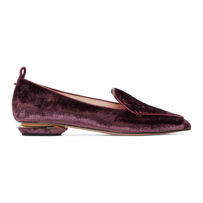 Beya Crushed-Velvet Loafers in V48 Burgand