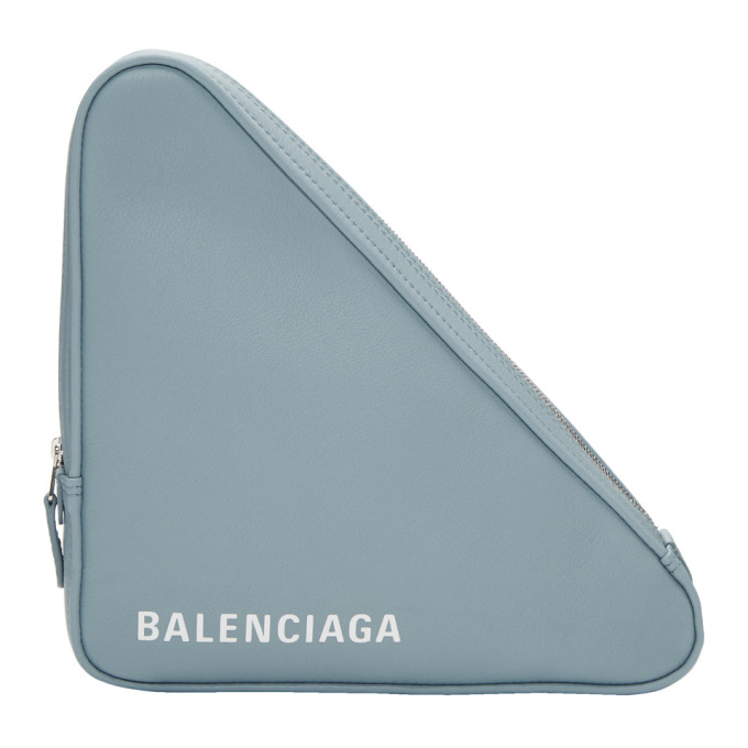 BALENCIAGA BLUE MEDIUM TRIANGLE POUCH